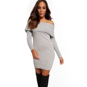 NWT NY&CO Off-The-Shoulder Sweater Dress